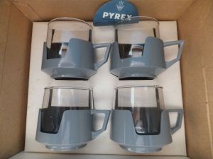 Pyrex Drinkups Retro Vintage Cups 60's, 70's Grey Glasses Caravan Camping